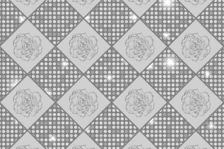 clove: Silver seamless chess styled vintage texture with clove flowers and shining rounds. Vector illustration