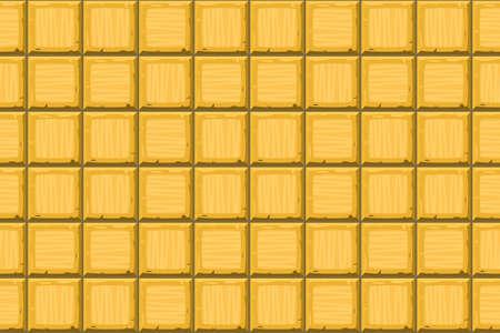 drown: Cartoon hand drown golden seamless decorative old tiles texture. Vector illustration