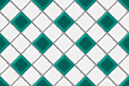 drown: Cartoon hand drown cyan and white old diagonal seamless tiles texture. Vector illustration
