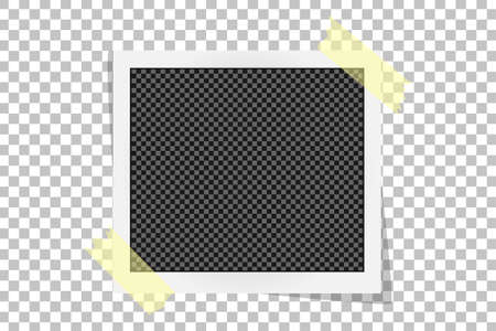 scotch: Square frame template on sticky tape with shadows isolated on transparent background. Vector illustration