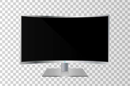 現実的な湾曲したテレビ モニター分離します。ベクトル図
