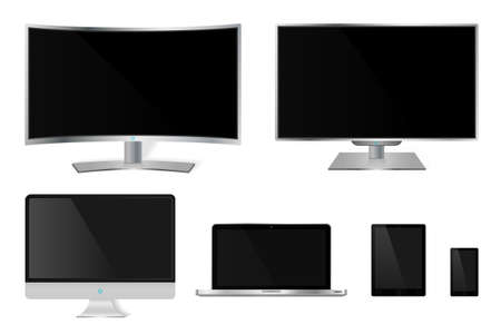 hdtv: Realistic mettalic modern TV monitor isolated on white. Vector illustration