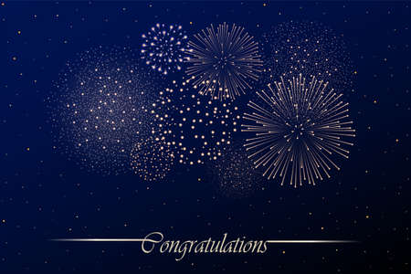 Firework show on night sky background. Independence day concept. Congratulations background.