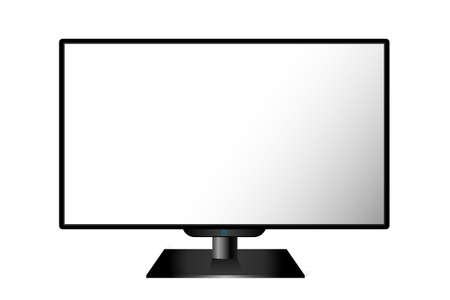 lcd: Realistic black modern TV monitor isolated