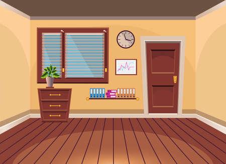 closet door: Cartoon flat vector interior office room in orange style