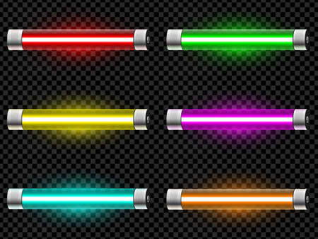Realistic neon tube light pack isolated on dark transparent background. Vector illustration Illustration