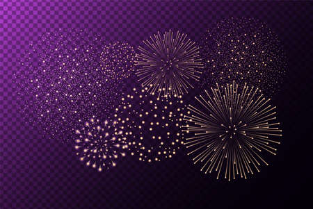 Fireworks isolated on purple transparent background. Independence day concept. Festive and holidays background. Vector illustration