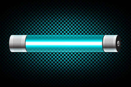 nighttime: Realistic turquoise neon tube light isolated on dark transparent background. Vector illustration Illustration