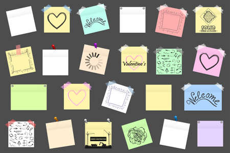 scotch: Mega pack of colored office paper stickers with shadow isolated. Vector illustration