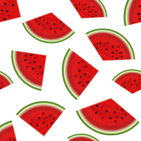 Summer seamless background. Realistic watermelon with slices. Vector illustration