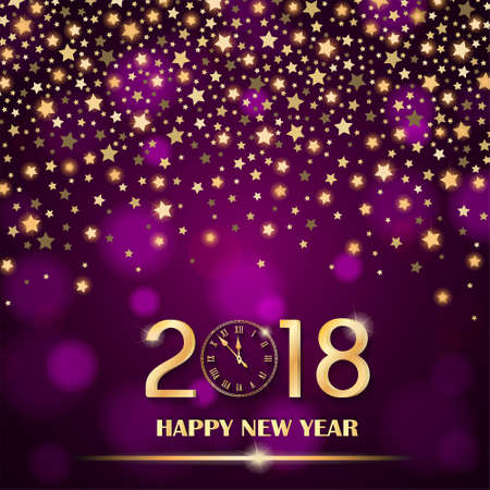 Abstract shining falling stars on purple ambient blurred background. New Year 2018 concept. Luxury design. Vector illustration