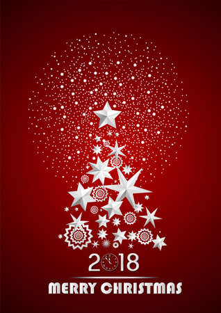 Christmas and New Year 2018 abstract with Christmas Tree made of stars and snowflakes with firework on dark red ambient background. Vector illustration