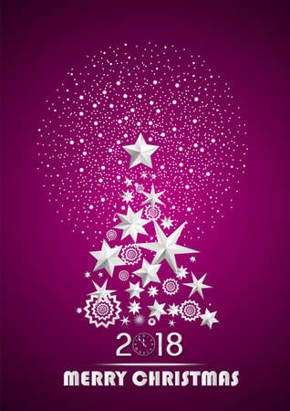 Christmas and New Year 2018 abstract with Christmas Tree made of stars and snowflakes with firework on dark pink ambient background. Vector illustration