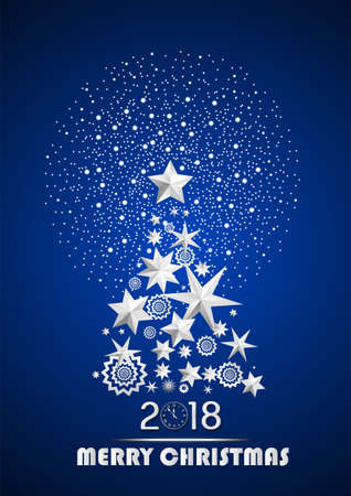 Christmas and New Year 2018 abstract with Christmas Tree made of stars and snowflakes with firework on dark blue ambient background. Vector illustration Ilustrace