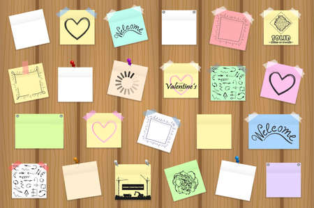 wooden post: Mega pack of colored office paper stickers on wooden board. Vector illustration