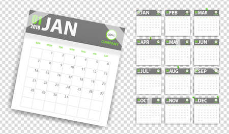 2018 calendar in paper stickers with pins and scotch style. Green and grey. Event planner. All size. Vector illustration