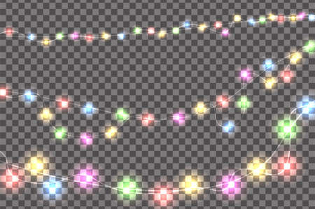 Colored realistic Christmas lights decorations set isolated on transparent background. For greeting cards. Vector illustration Illustration