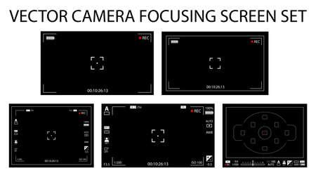 現代のカメラの焦点の画面設定 5 で 1 パック - デジタル、mirorless、デジタル一眼レフ。黒ファインダー カメラの録画が分離されました。ベクトル図  イラスト・ベクター素材