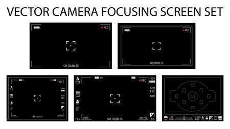 Modern camera focusing screen with settings 5 in 1 pack - digital, mirorless, DSLR. Black viewfinders camera recording isolated. Vector illustration