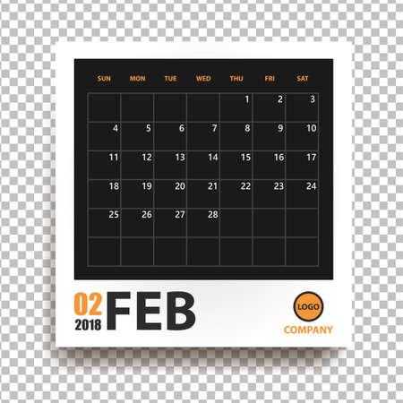 Calendario de febrero de 2018 en marco de fotos realista con sombra aislada sobre fondo transparente. Organizador de eventos. Todas las tallas. Ilustración vectorial