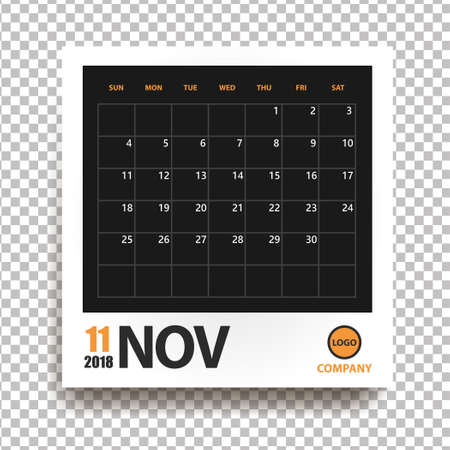 Calendario de noviembre de 2018 en marco de fotos realista con sombra aislada sobre fondo transparente. Organizador de eventos. Todas las tallas. Ilustración vectorial