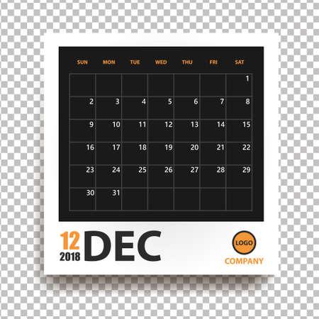 Calendario de diciembre de 2018 en marco de fotos realistas con sombra aislada sobre fondo transparente. Organizador de eventos. Todas las tallas. Ilustración vectorial