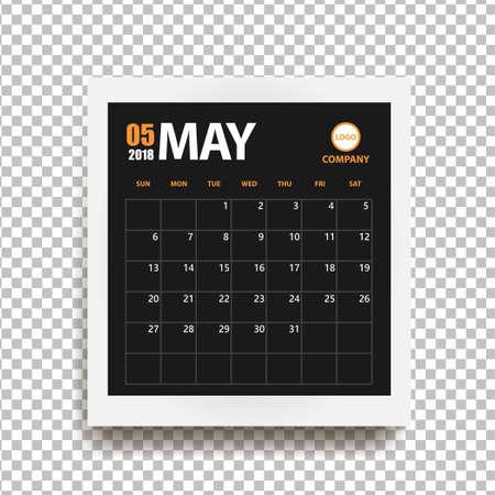 Calendario de mayo de 2018 en marco de fotos realistas con sombra aislada sobre fondo transparente. Organizador de eventos. Todas las tallas. Ilustración vectorial