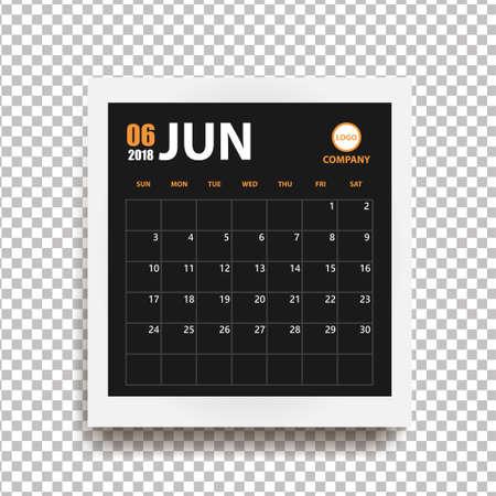 Calendario de junio de 2018 en marco de fotos realista con sombra aislada sobre fondo transparente. Organizador de eventos. Todas las tallas. Ilustración vectorial