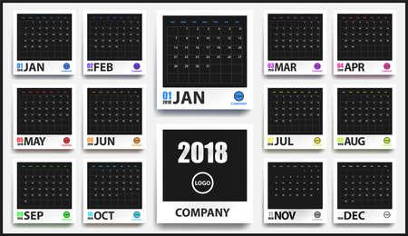 Maqueta de calendario color 2018 en marco de foto realista con sombra aislada. Organizador de eventos. Todas las tallas. Ilustración vectorial