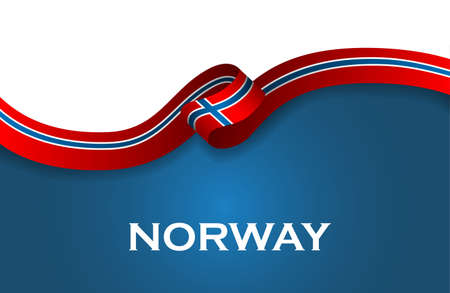 Norway sport style flag ribbon classic style. Illustration