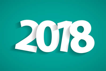 Happy New Year 2018 concept with paper cuted white numbers on turquoise background. Vector illustration