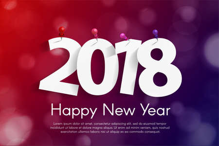 Happy New Year 2018 greeting card concept with paper cuted white numbers. Vector illustration