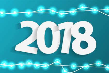 New Year 2018 concept with paper cuted white numbers on realistic Christmas lights decorations on cyan background. For greeting cards. Vector illustration