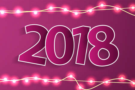 New Year 2018 concept with paper cuted white numbers on realistic Christmas lights decorations on purple background. For greeting cards. Vector illustration Illustration