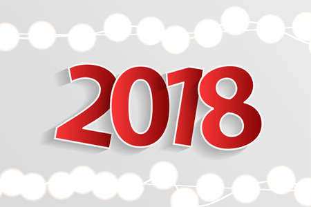 New Year 2018 concept with paper cuted white numbers on realistic Christmas lights decorations on white background. For greeting cards. Vector illustration
