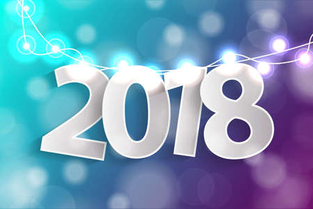 New Year 2018 concept with paper cuted white numbers on realistic Christmas lights decorations on cyan and purple background. For greeting cards. Vector illustration