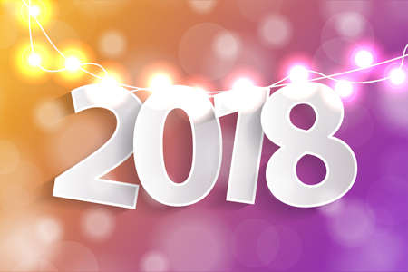 New Year 2018 concept with paper cuted white numbers on realistic Christmas lights decorations on yellow and violet background. For greeting cards. Vector illustration
