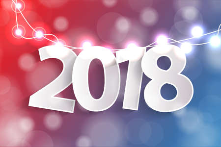 New Year 2018 concept with paper cuted white numbers on realistic Christmas lights decorations on red and blue background. For greeting cards. Vector illustration
