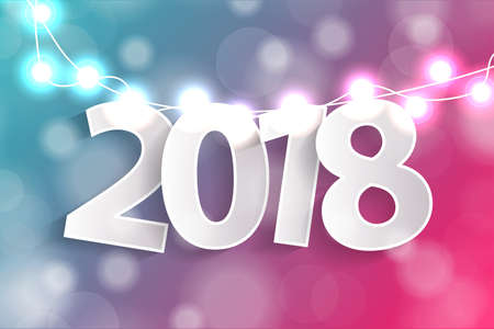 New Year 2018 concept with paper cuted white numbers on realistic Christmas lights decorations on cyan and pink background. For greeting cards. Vector illustration Illustration