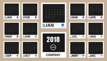 2018 maqueta coloreada del calendario en el marco realista de la foto aislado. Organizador de eventos. Todas las tallas. Ilustración vectorial