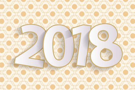 Happy New Year 2018 greeting card concept with paper cuted white numbers