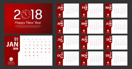 2018 New Year calendar simple modern style. Red and white. Event planner. All size Stock Photo