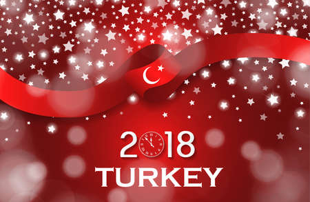 Turkey New Year 2018 National greeting card luxury style flag ribbon concept