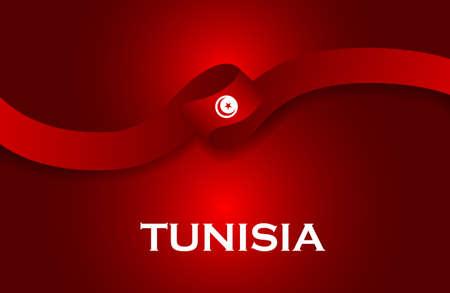 Tunisia luxury style flag ribbon classic style Stock Photo