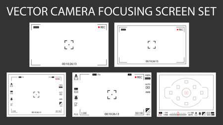Schermo di messa a fuoco della fotocamera moderno con impostazioni 5 in 1 pacchetto: digitale, senza mirino, DSLR. Registrazione bianca della macchina fotografica dei mirini isolata