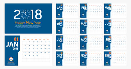 2018 New Year calendar simple modern style. Blue and orange. Event planner. All size