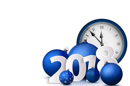 Weihnachten und Neujahr 2018 Konzept. Blaue Weihnachtskugeln mit Silberhaltern und Vintage-Uhr. Satz lokalisierte realistische Gegenstände