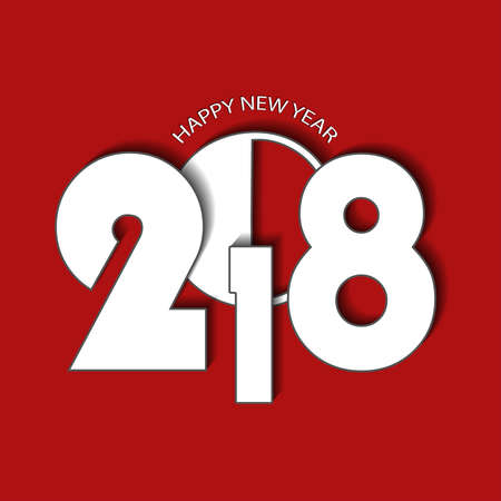 New Year 2018 concept on red background. Vector illustration Illustration