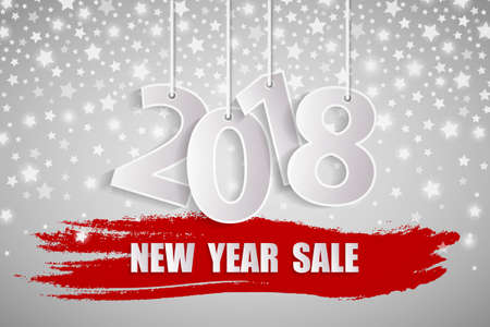 New Year sale 2018 white concept with silver starfall. Vector illustration