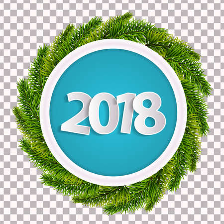 New Year 2018 cyan greeting card concept with christmas tree branches isolated. Vector illustration